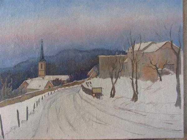 Billy sous la neige (peinture à l'huile) – support toile sur châssis (65 x 81 cm) – 580 €
