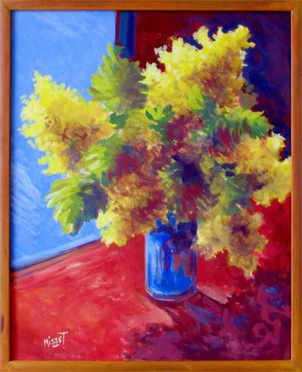Bouquet de mimosa (peinture à l'huile) – support bois (40 x 50 cm) – 480 €