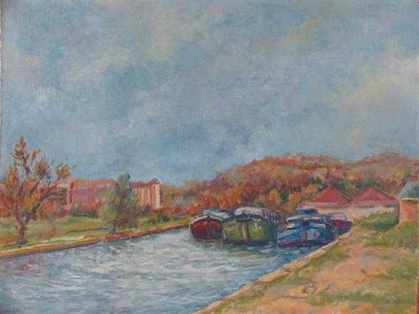 Canal à Ravières (peinture à l'huile) – support carton (38 x 51 cm) – 320 €