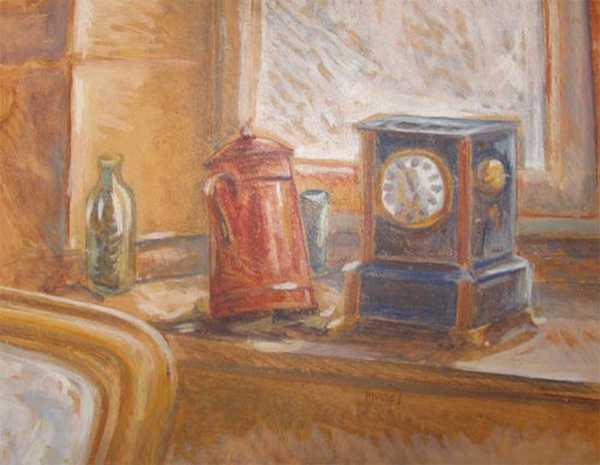 Cafetière et horloge (peinture à l'huile) – support bois encadré (32 x 42 cm) – 480 €