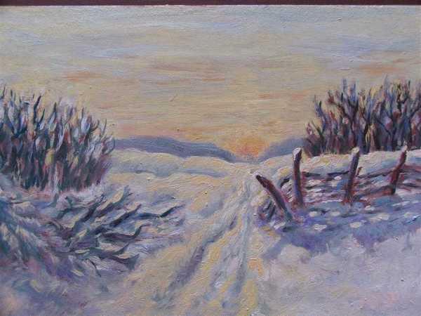 Crépuscule (peinture à l'huile) – support bois (23 x 33 cm) – 210 €