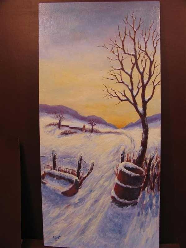 Coucher de soleil 2 (peinture à l'huile) – support bois (32 x 68 cm) – 310 €