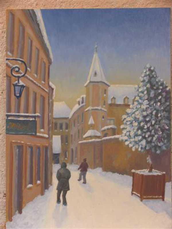 Rue de Dijon (peinture à l'huile) – support bois (34 x 46 cm) – 310 €