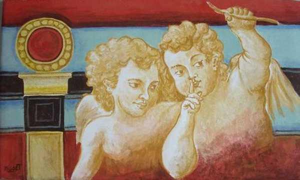 Anges (fresque) – enduit de chaux sur bois (26 x 44 cm) – 195 €