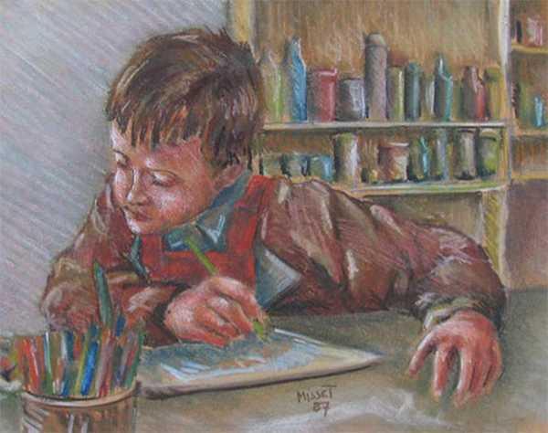 Enfant qui dessine (pastel) – support papier encadré sous verre (31 x 44 cm) – 530 €
