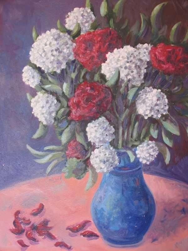 Bouquet posé (peinture à l'huile) – support bois (44 x 72 cm) – 480 €