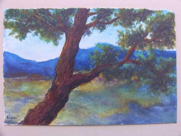 Paysage de Méditerranée (aquarelle) – support papier encadré sous verre (10 x 14,5 cm) – 120 €