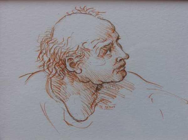 Vieil homme (sanguine) – support papier encadré sous verre (10 x 15 cm) – 120 €