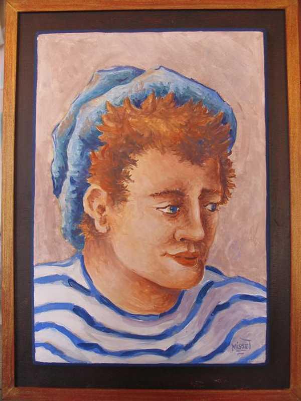 Matelot (fresque) – support bois encadré (27 x 39 cm) – 280 €
