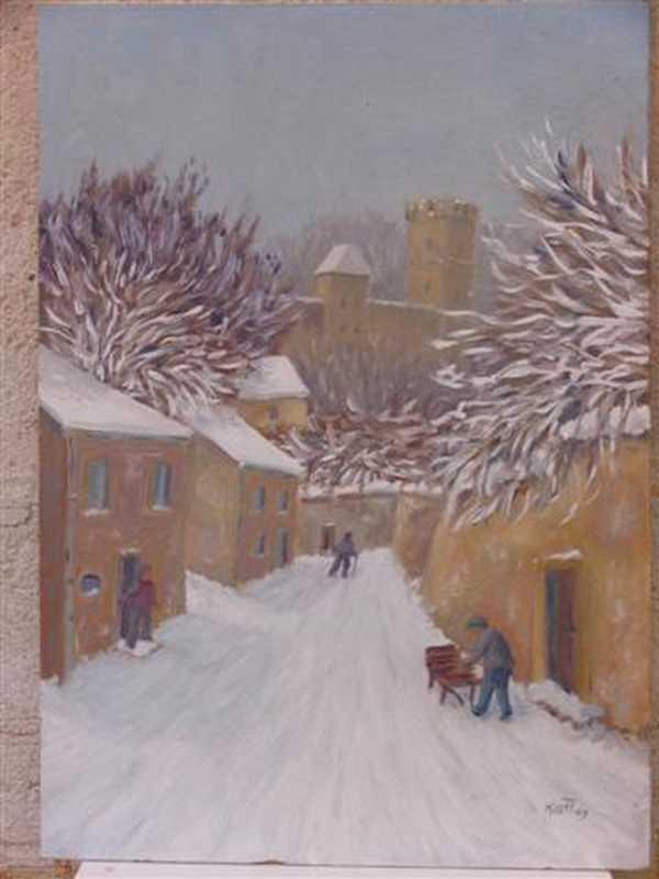 Rue de Montbard (peinture à l'huile) – support bois (37 x 53 cm) – 320 €