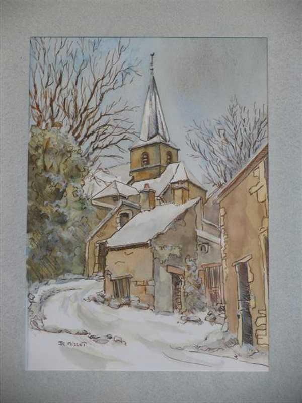 Montbard, St Urse (aquarelle) – support papier encadré sous verre (18 x 24 cm) – 210 €