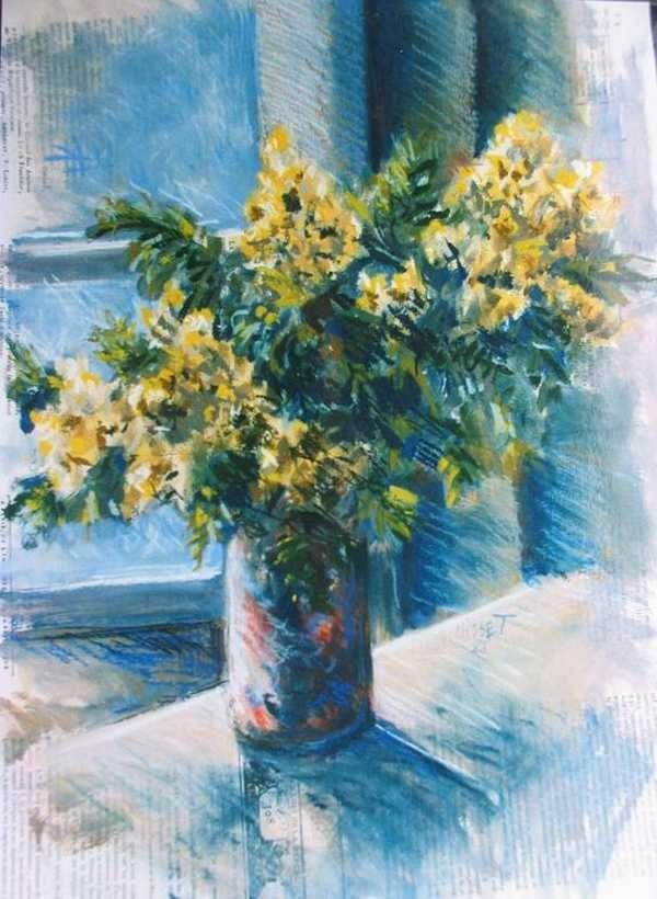 Bouquet de mimosa (pastel) – support papier encadré sous verre (36 x 45 cm) – 580 €