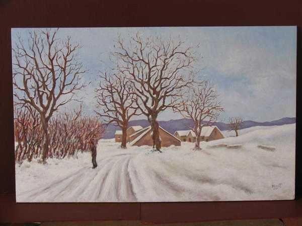 Neige en Bourgogne (peinture à l'huile) – support bois (45 x 71 cm) – 480 €