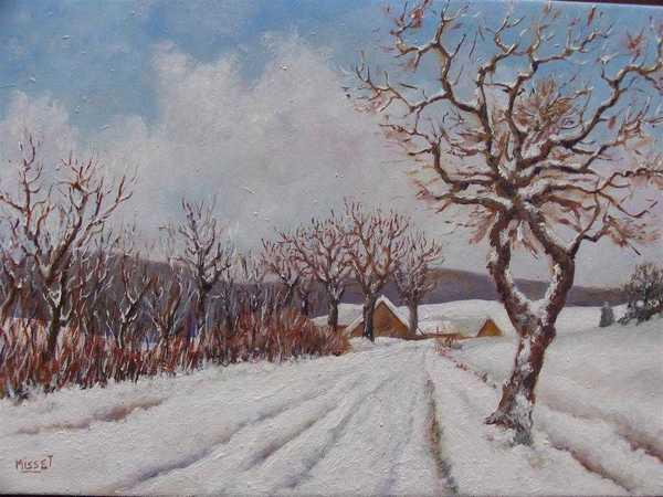 Neige à Beaunotte (peinture à l'huile) – support bois (27 x 39 cm) – 980 €