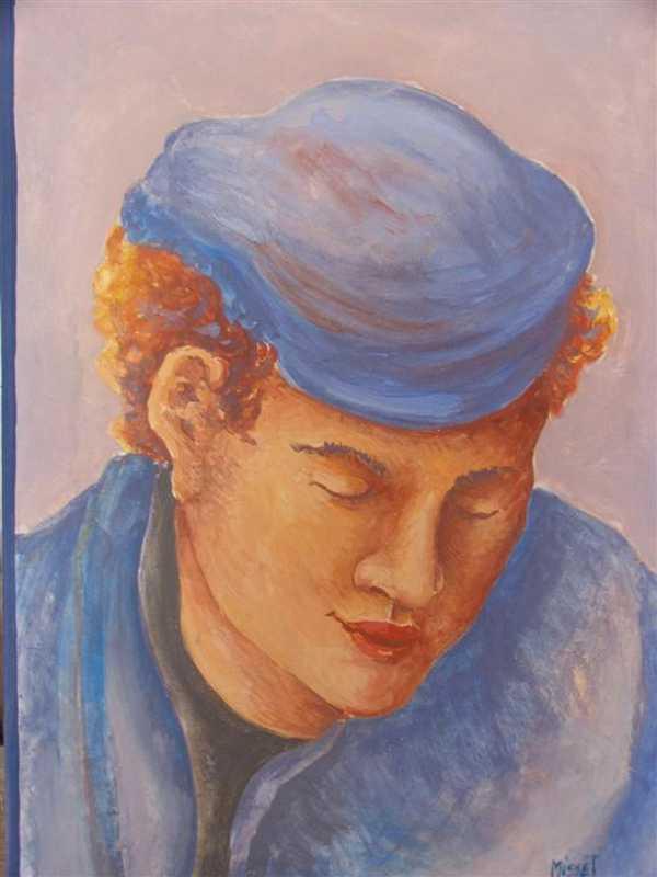 Portrait à la casquette (fresque) – enduit de chaux sur bois (28 x 40 cm) – 310 €