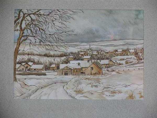 Village de Côte d'Or (aquarelle) – support papier encadré sous verre (18 x 24 cm) – 210 €
