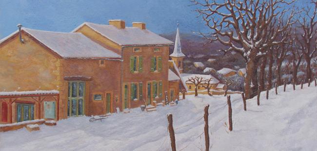 Maison à Billy-lès-Chanceaux (peinture à l'huile) – support toile sur châssis (65 x 91 cm) – 600 €